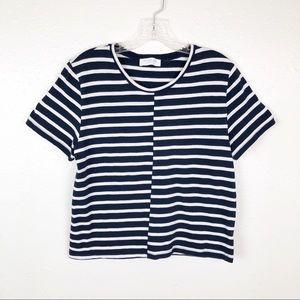 Everlane Navy White Striped Short Sleeve Crop Top
